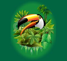 Toucan on Wild Green Jungle  T-Shirt
