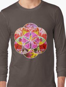 Flowers Geometric Collage Long Sleeve T-Shirt