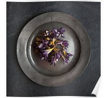 flowers on pewter plate Poster