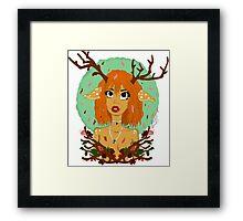 Into a New Season - Forest Deer Girl Framed Print
