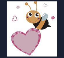 Cute bee holding pink Heart ♥ One Piece - Long Sleeve