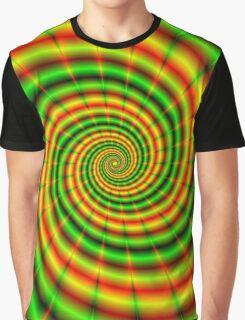 Double Spiral in Green and Orange Graphic T-Shirt