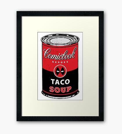 Comicbook Taco Soup Framed Print