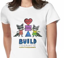 Build to Create (Manifestation): Whimsical Raccoon Watercolor Illustration Womens Fitted T-Shirt