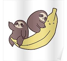 Sloths and Giant Banana Poster