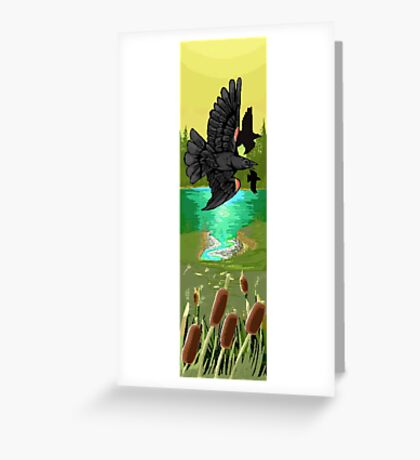 Pixel redwing black bird Greeting Card