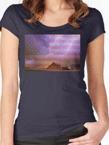 American Country Stormy Night Women's Fitted Scoop T-Shirt
