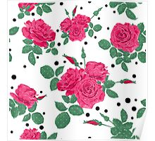 Seamless flowers of pink roses pattern with black dots, circles on white background Poster