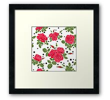 Seamless flowers of red roses pattern with black dots, circles on white background Framed Print
