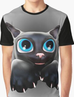 Cute Kitty Cartoon with Blue Eyes - 3D Graphic T-Shirt