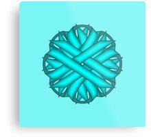 Light Blue / Tea Flower Ribbon Metal Print