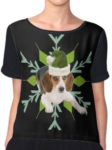 Beagle in a Santa Hat Holiday Dog Chiffon Top