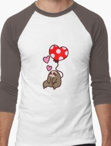 Sloth Valentine Balloon Men's Baseball ¾ T-Shirt