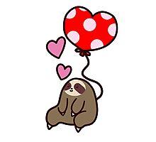 Sloth Valentine Balloon Photographic Print