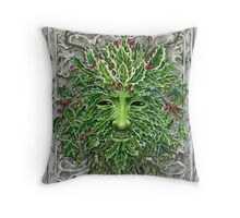 Holly King Christmas Yule Greenman portrait Throw Pillow