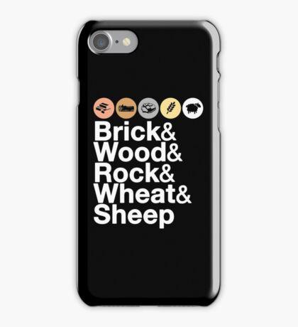 Helvetica Settlers of Catan: Brick, Wood, Rock, Wheat, Sheep | Board Game Geek Ampersand Design iPhone Case/Skin