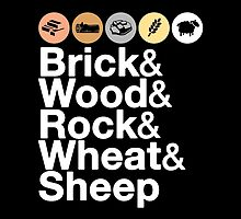 Helvetica Settlers of Catan: Brick, Wood, Rock, Wheat, Sheep   Board Game Geek Ampersand Design by BootsBoots