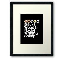 Helvetica Settlers of Catan: Brick, Wood, Rock, Wheat, Sheep | Board Game Geek Ampersand Design Framed Print