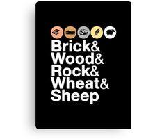 Helvetica Settlers of Catan: Brick, Wood, Rock, Wheat, Sheep | Board Game Geek Ampersand Design Canvas Print