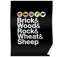 Helvetica Settlers of Catan: Brick, Wood, Rock, Wheat, Sheep | Board Game Geek Ampersand Design Poster