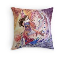 The Edge of Enchantment Kimono butterfly fairy by Meredith Dillman Throw Pillow