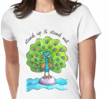 Stand Up & Stand Out: Whimsical Cute Peacock Watercolor Illustration Womens Fitted T-Shirt