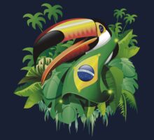 Toco Toucan on Brazil Flag One Piece - Short Sleeve
