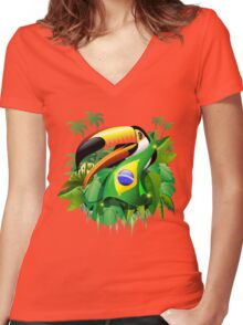 Toco Toucan on Brazil Flag Women's Fitted V-Neck T-Shirt