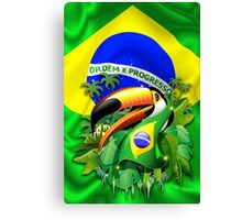 Toco Toucan on Brazil Flag Canvas Print