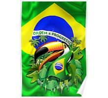 Toco Toucan on Brazil Flag Poster