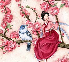 Peach Blossom Fairy and blue bird by meredithdillman