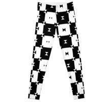 Black and White Seamless Check Pattern Leggings
