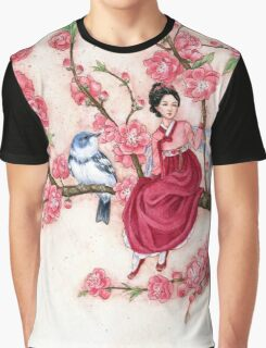Peach Blossom Fairy and blue bird Graphic T-Shirt