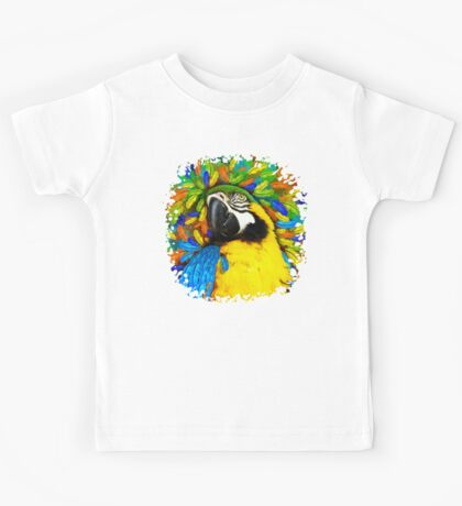 Gold and Blue Macaw Parrot Fantasy Kids Tee