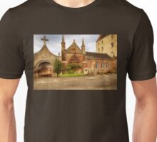 Delgatie Castle - Rear View  (near Turriff, in Aberdeenshire, Scotland) Unisex T-Shirt