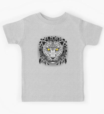 White Leopard with Yellow Eyes Kids Tee