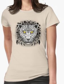 White Leopard with Yellow Eyes Womens Fitted T-Shirt