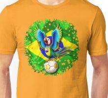 Brazil Macaw Parrot Cartoon with Soccer Ball Unisex T-Shirt