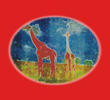 African Giraffe - Mama and Baby One Piece - Long Sleeve