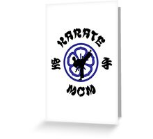 Karate Mom Crest, Side Kick Silhouette & Kanji Greeting Card
