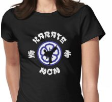 Karate Mom Crest, Side Kick Silhouette & Kanji Womens Fitted T-Shirt