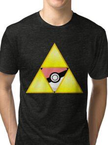 Zelda Triforce (Courage, Wisdom, Power, and Pokemon) Tri-blend T-Shirt