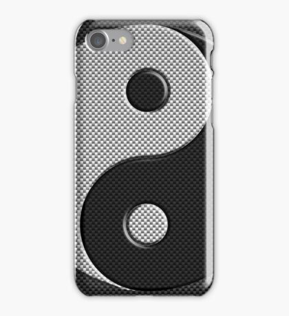 Yin Yang in Carbon Fiber Print Style iPhone Case/Skin