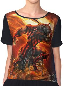 War Within Fire Wolf Chiffon Top