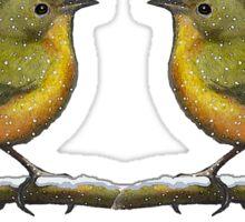 Two Little Birds, Face to Face, Snowflakes, Original Art Sticker