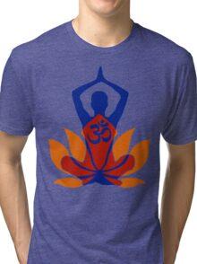 OM Namaste Yoga Pose Lotus Flower Tri-blend T-Shirt