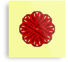 Burgundy Flower Ribbon Metal Print