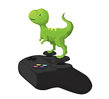Toy T-Rex Gamer Photographic Print