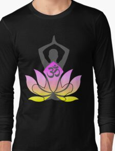 OM Namaste Yoga Pose Lotus Flower Long Sleeve T-Shirt