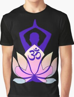 OM Namaste Yoga Pose Lotus Flower Graphic T-Shirt